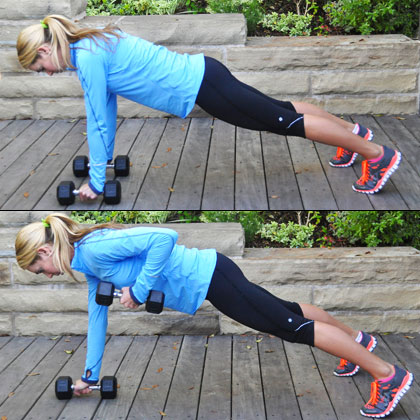 Plank with Dumbbell Row