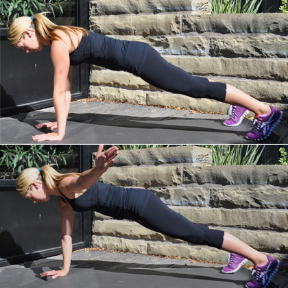 Plank with 'T' Raise