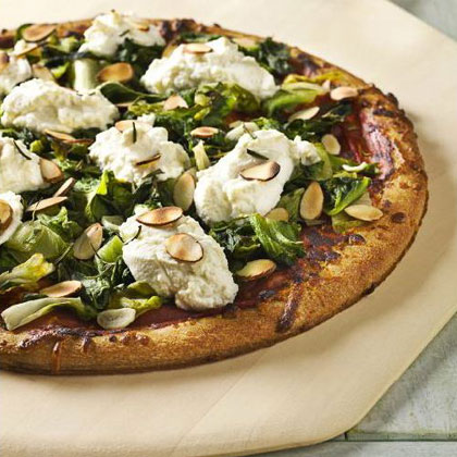 Pizza with Wilted Greens, Ricotta, and Almonds