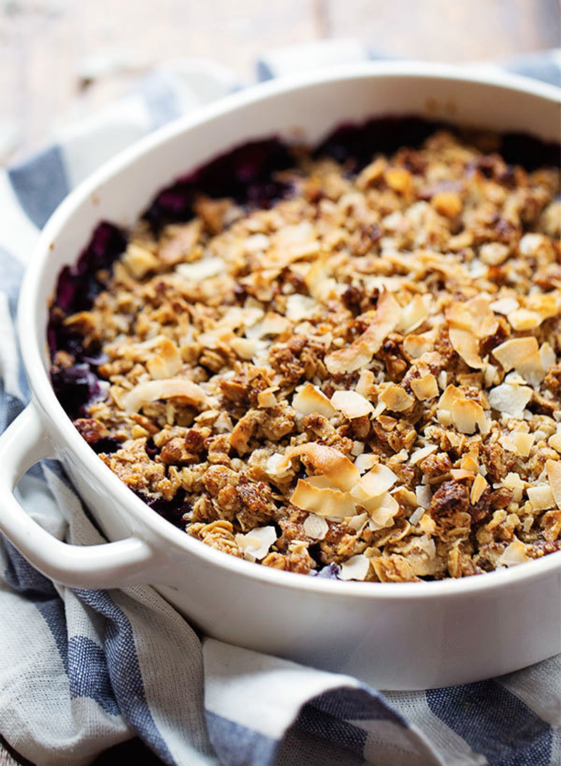 Simple Oat and Pecan Blueberry Crisp