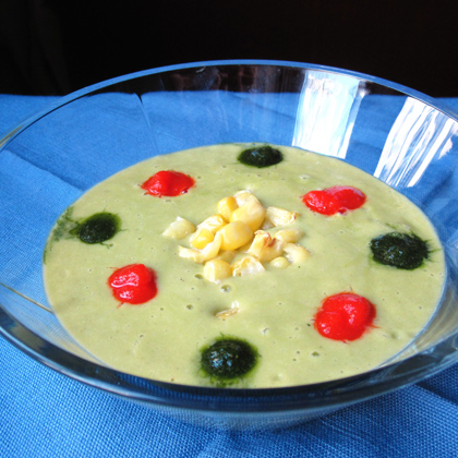 Corn Soup with Roasted Red Pepper Coulis and Cilantro Sauce