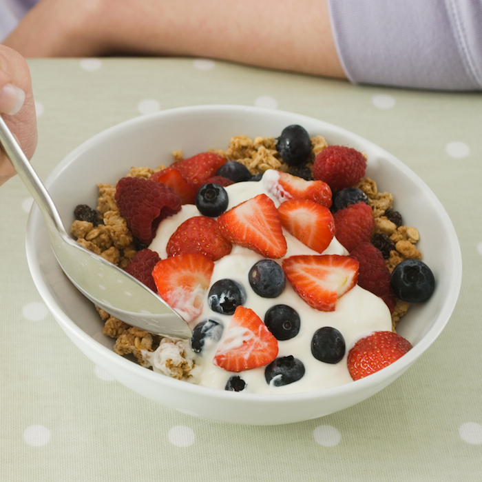 Strawberries, Iron-fortified Cereal, and Low-fat Yogurt