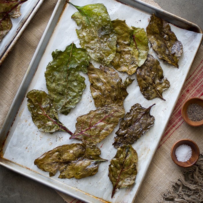 Baked Beet Green Chips