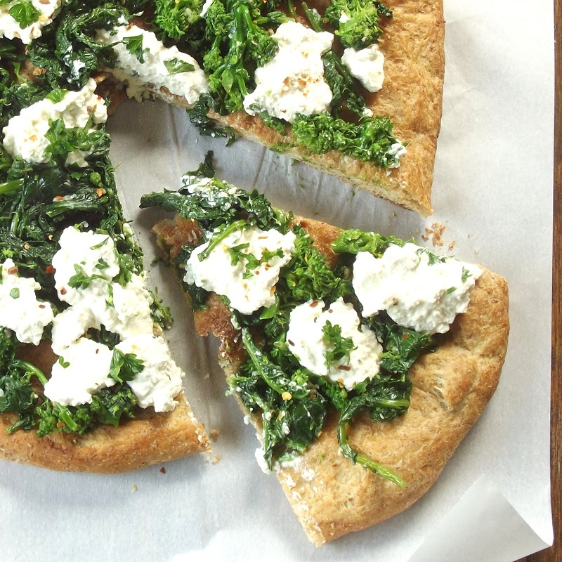 Vegan Broccoli Rabe and Cashew Ricotta White Pizza