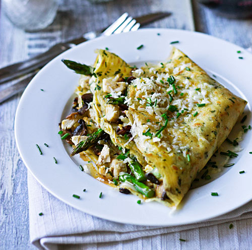Crepes with Chicken, Cheese & Mushroom