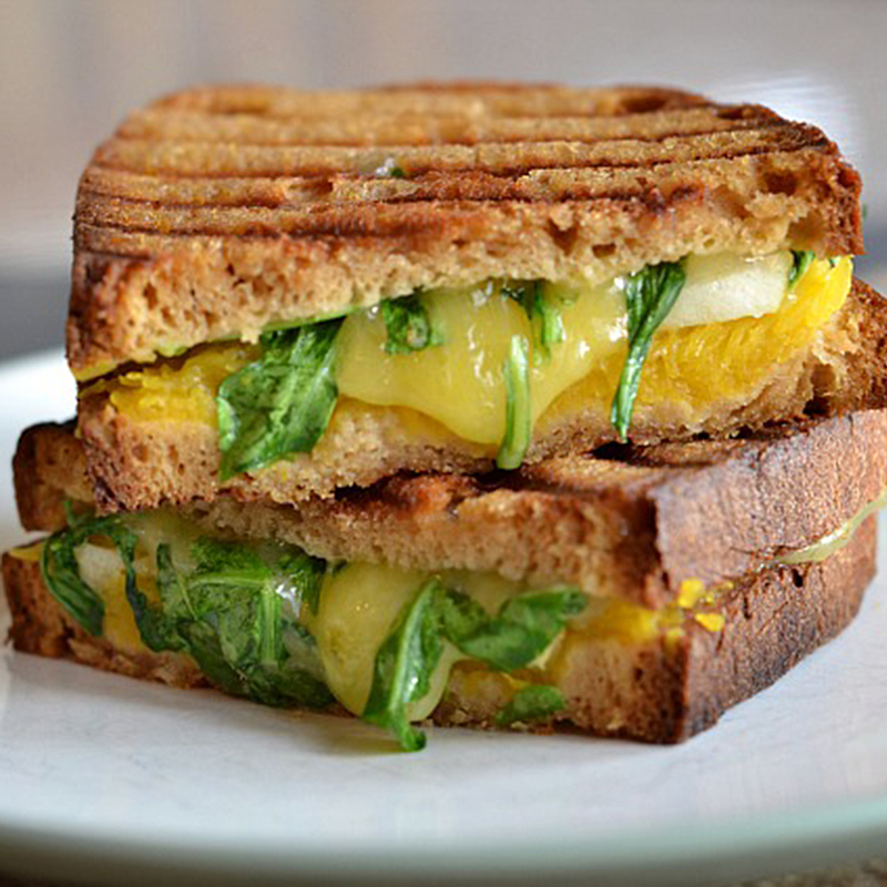 Pumpkin Grilled Cheese with Apples and Cheddar