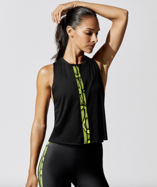 The black-on-black look is always a good choice, and a looser cute workout tank like this one really feels breezy when you're working up a sweat. The python detail makes it extra fierce.