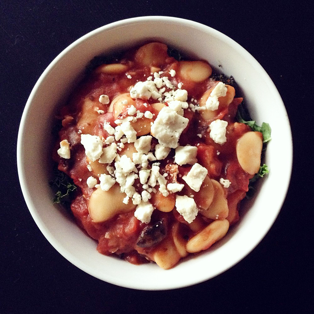 Butter Beans and Olives in Spicy Tomato Sauce