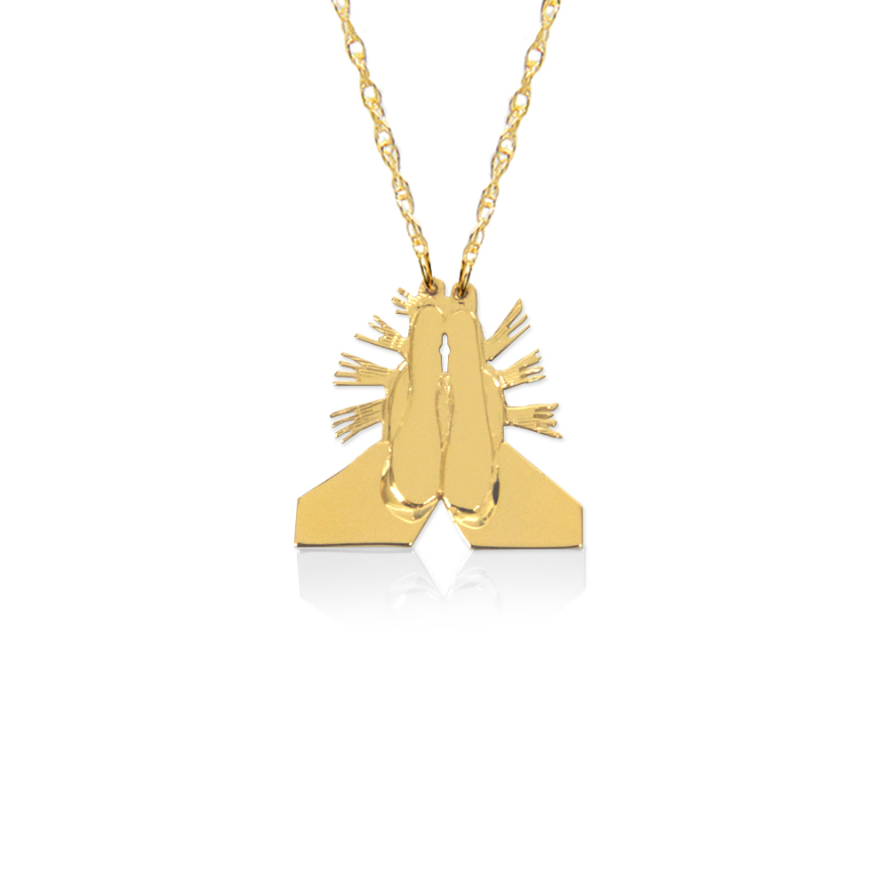 Jane Basch Praying Hands Emoji Necklace
