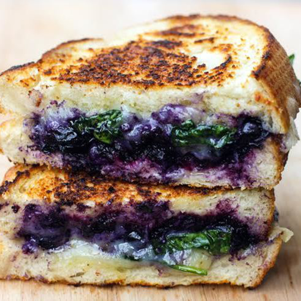 Grilled Cheese with Blueberry, Basil, and Moringa