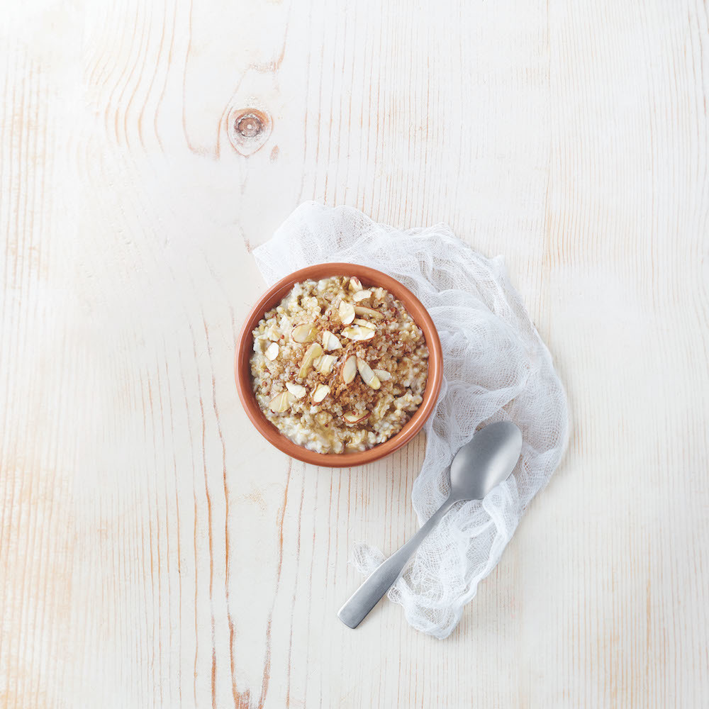 Steel Cut Oatmeal with Almonds, Quinoa, and Honey