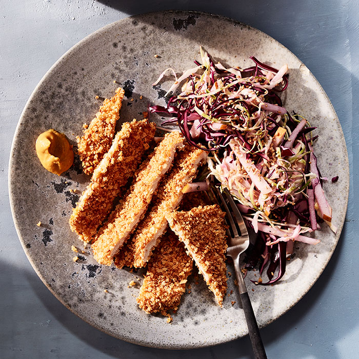 Baked Torikatsu with Sesame Cabbage Slaw