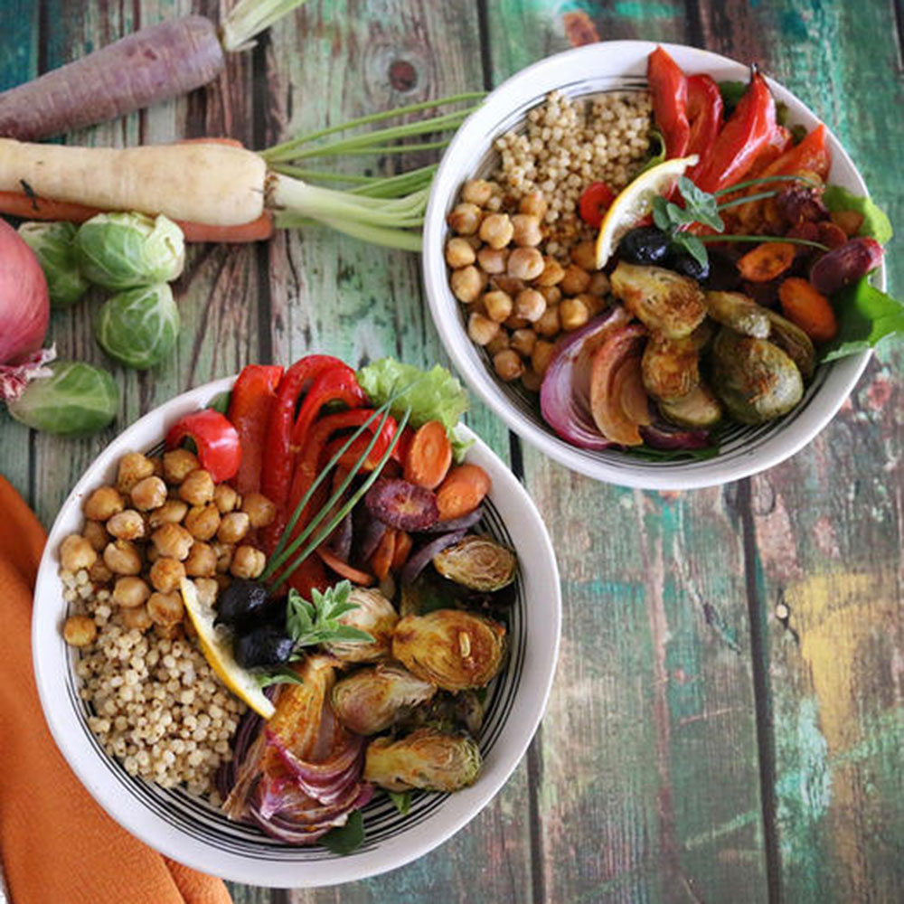moroccan chickpea sorghum bowl high protein vegan meal