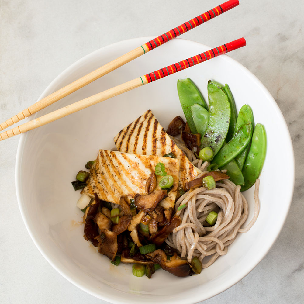 soba noodle bowl with tofu high protein meal idea vegan