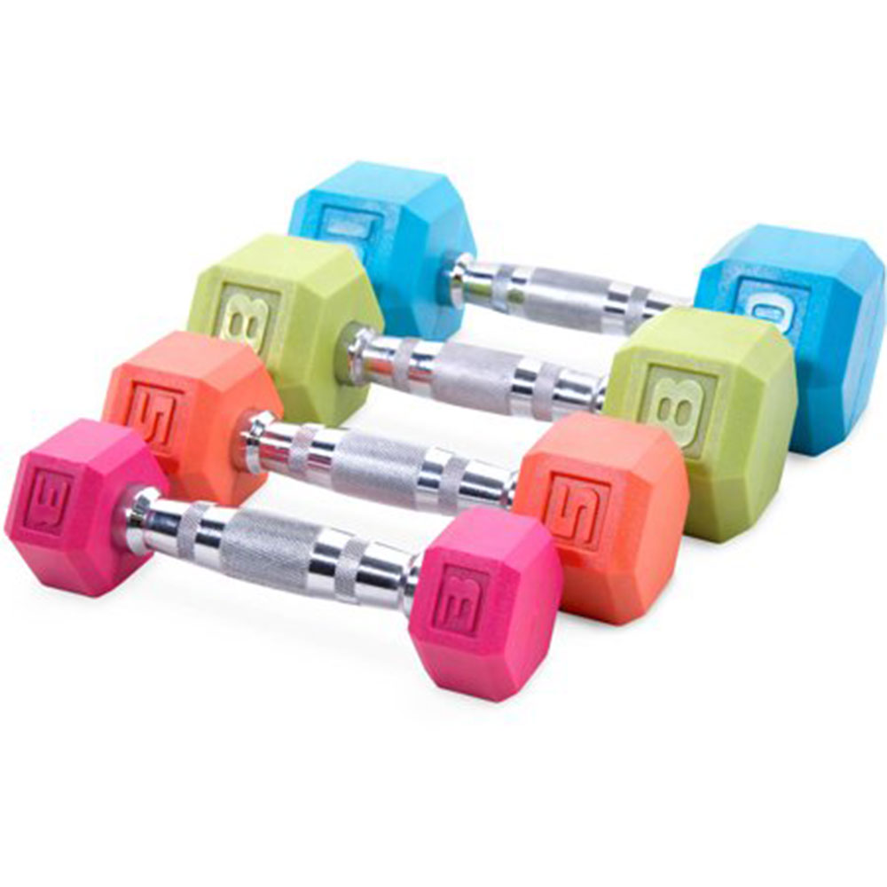 colored dumbbells at home workout equipment