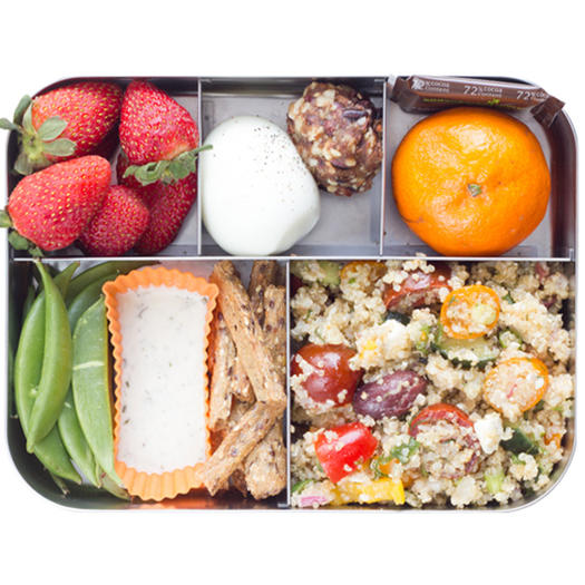 healthy bento box idea with quinoa salad