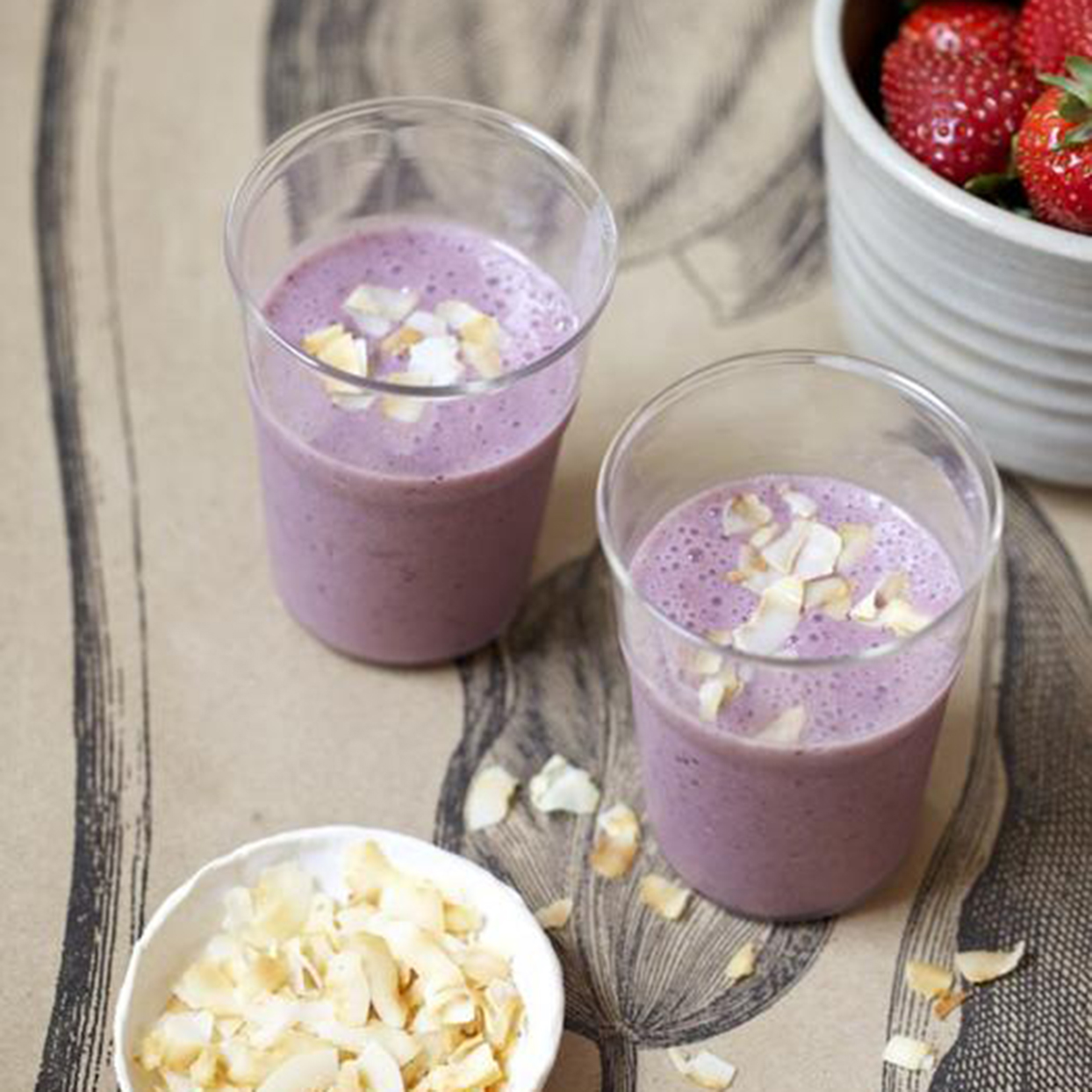 Strawberry & Toasted Coconut Morning Smoothie