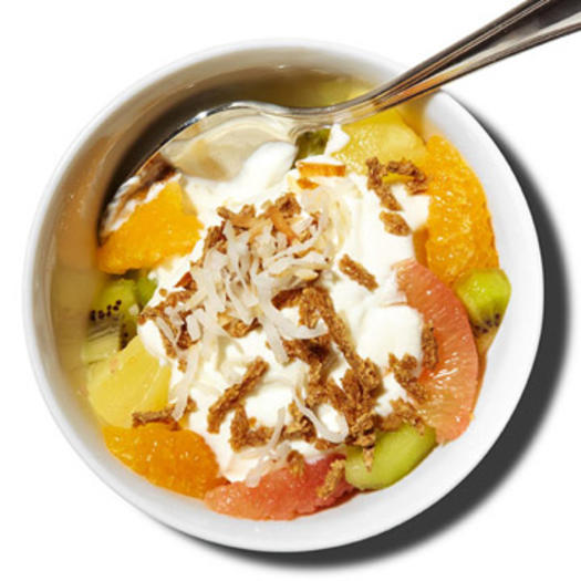 Healthy breakfast for weight loss directions:                                       	Peel and cut 1/2 pink grapefruit and 1/2 navel orange into segments. Combine with 1/2 kiwi, peeled and chopped, and 1/4 cup pineapple chunks.                                       	Place 1/2 cup Greek yogurt in a bowl.                                       	Spoon half the fruit mixture over yogurt, add 2 tablespoons high-fiber cereal.                                       	Add another 1/2 cup Greek yogurt, remaining fruit, and another 2 tablespoons high-fiber cereal.                                       	Top with 2 table­spoons shredded coconut.