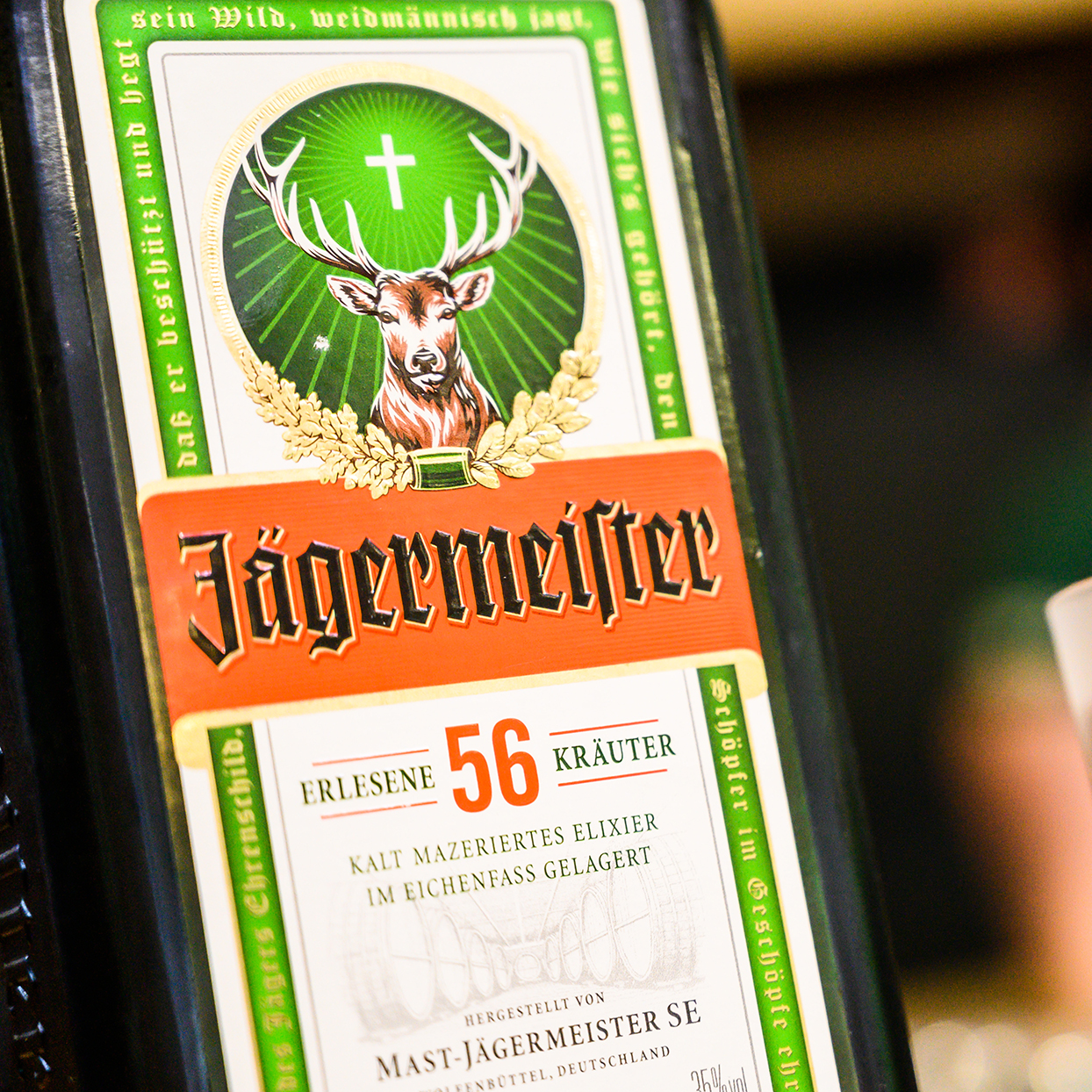 A bottle and a glass of Jägermeister schnapps stand on a counter at the opening of the newly expanded bottling plant of the beverage manufacturer Jägermeister. With this expansion, Jägermeister has, according to its own information, realised one of the largest spirits bottling plants in Europe
