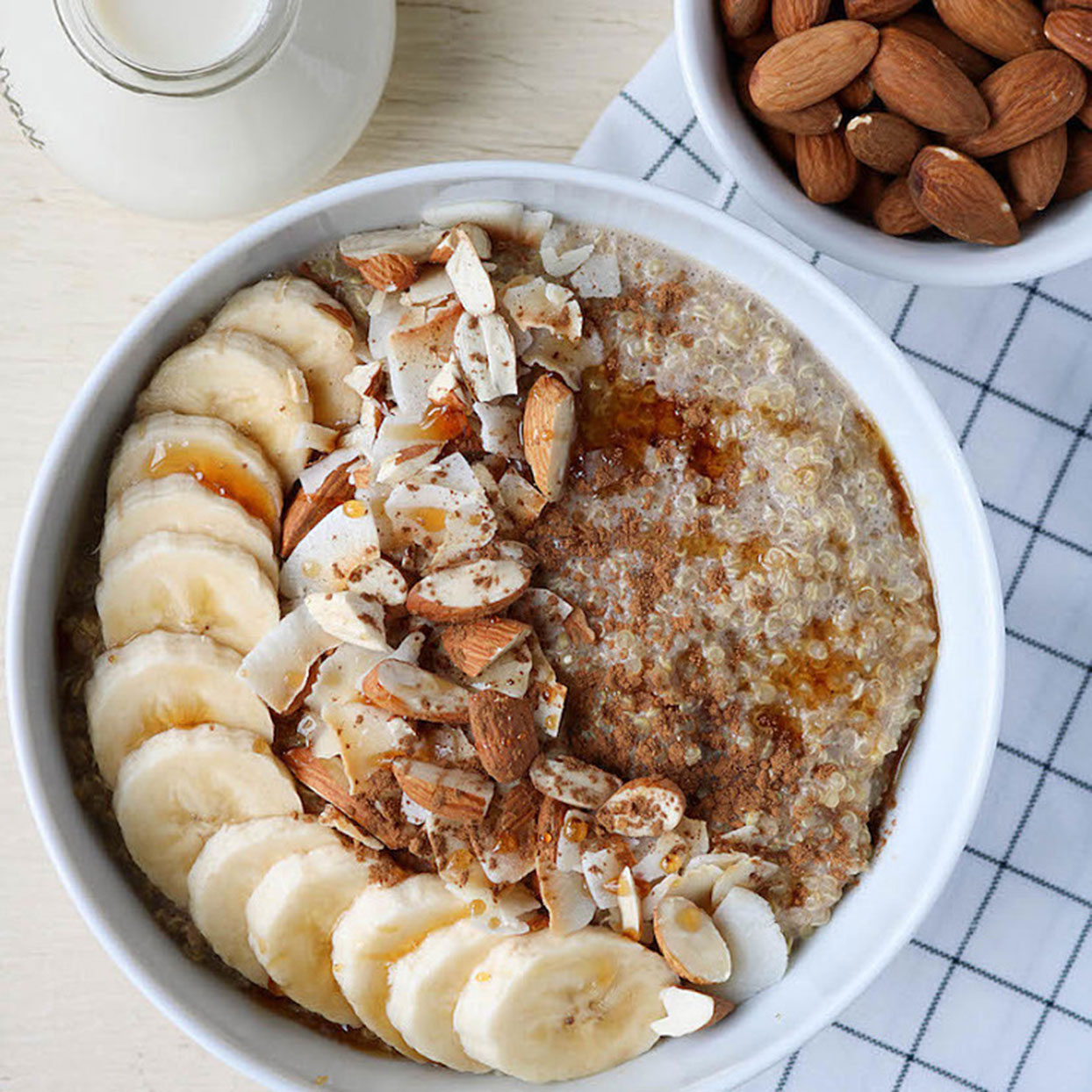 Sick of oatmeal? This quinoa breakfast bowl is going to become your new go-to. Cook the quinoa on Sunday, then, come Monday, just top with bananas, almonds, shredded coconut, and maple syrup for a meal that comes together in two minutes. You can also try one thesesatisfying breakfast recipes you can make in five easy minutes.Get the recipe:Cinnamon Quinoa Breakfast Bowl