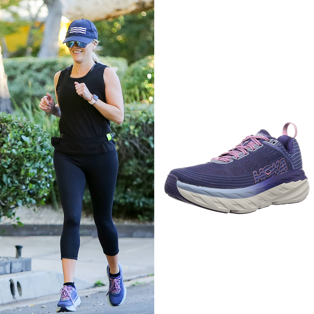 Reese Witherspoon wearing Hoka One One sneakers