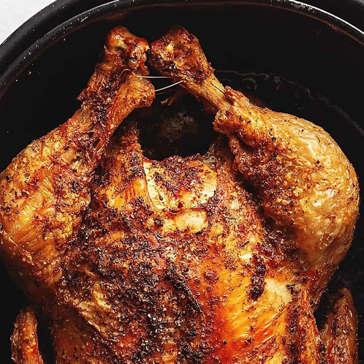 Yes, you could run to the grocery store and pick up a rotisserie chicken on your way home from work. But the air fryer can also get the job done with juicy meat and crispy skin. Eat with all the fixins or toss some chicken into soup, stir fry, and casserole as needed. (See also: 10 Rotisserie Chicken Dinners You Can Make in 30 Minutes or Less.)