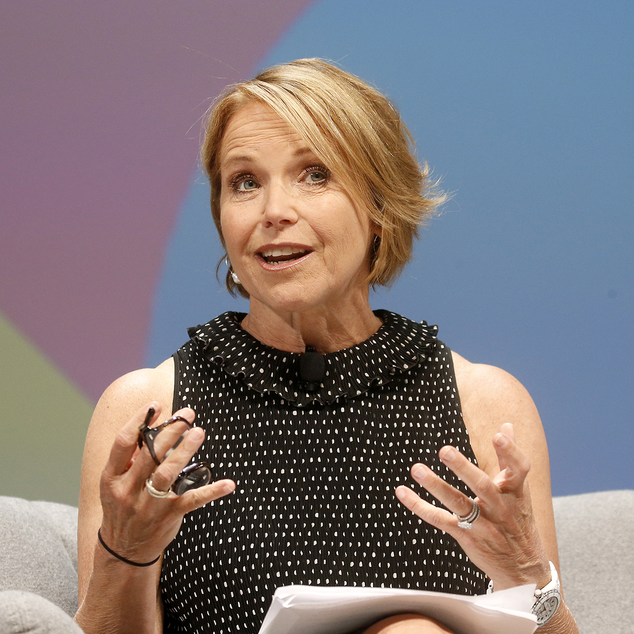 Journalist Katie Couric speaks on stage during P&G session at the Cannes Lions 2019 : Day Three on June 19, 2019 in Cannes, France