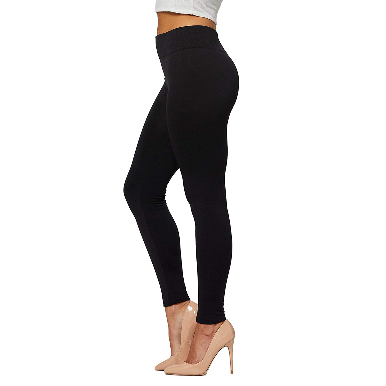 conceited black fleece-lined leggings