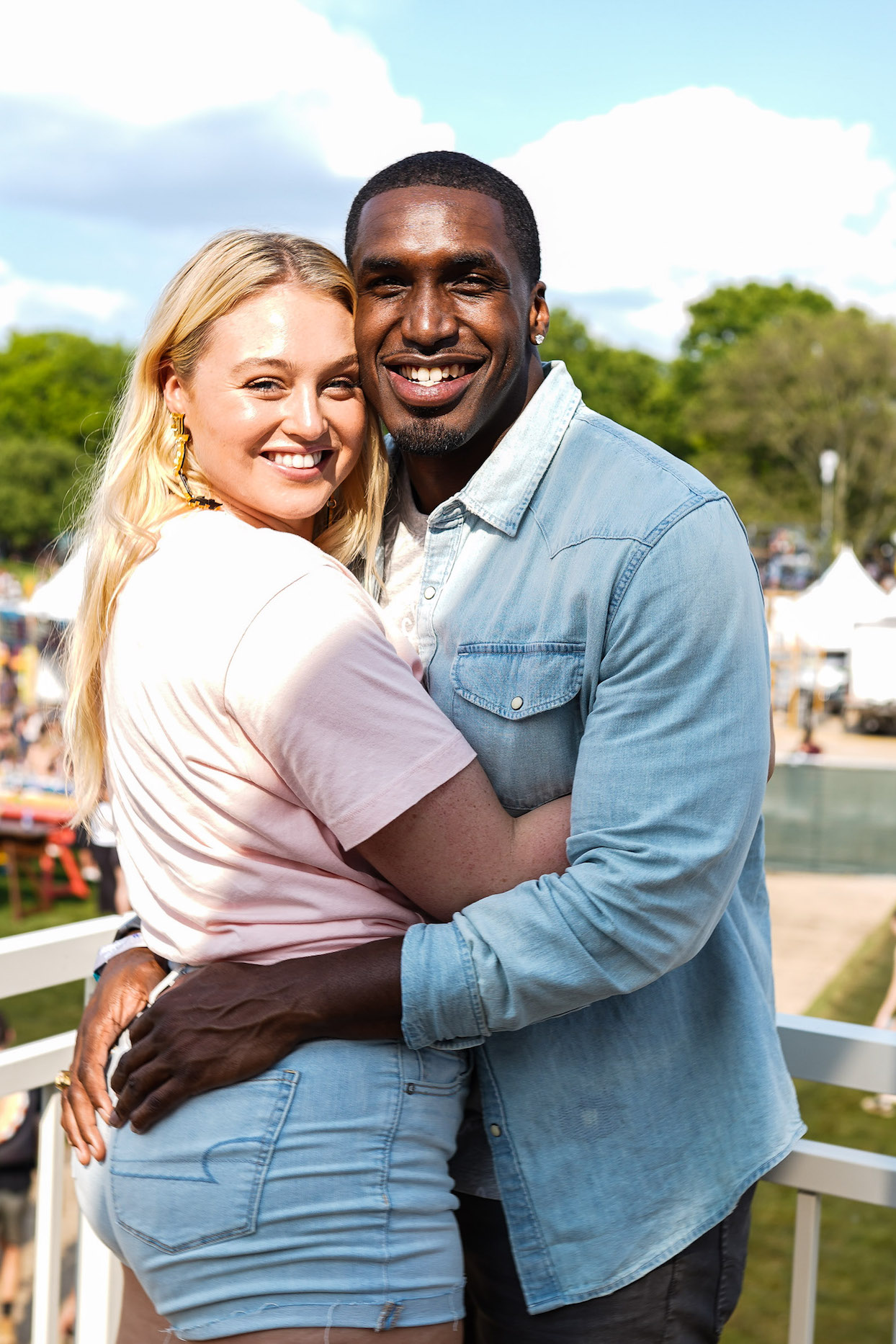 Iskra Lawrence and Philip Payne during the American Eagle At NYC's Governors Ball 2019 at Randall's Island on May 31, 2019 in New York City