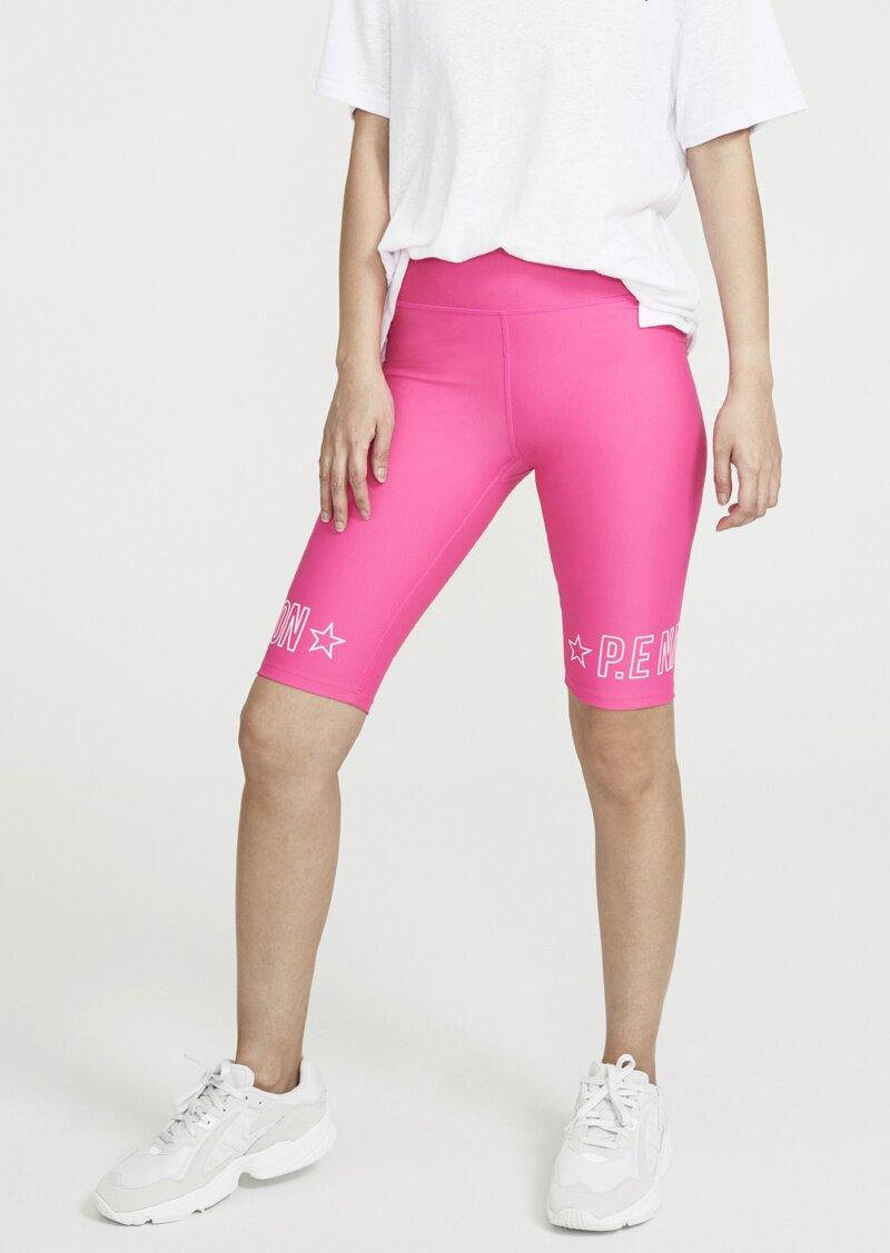 P.E. Nation Swish Bike shorts in bright pink