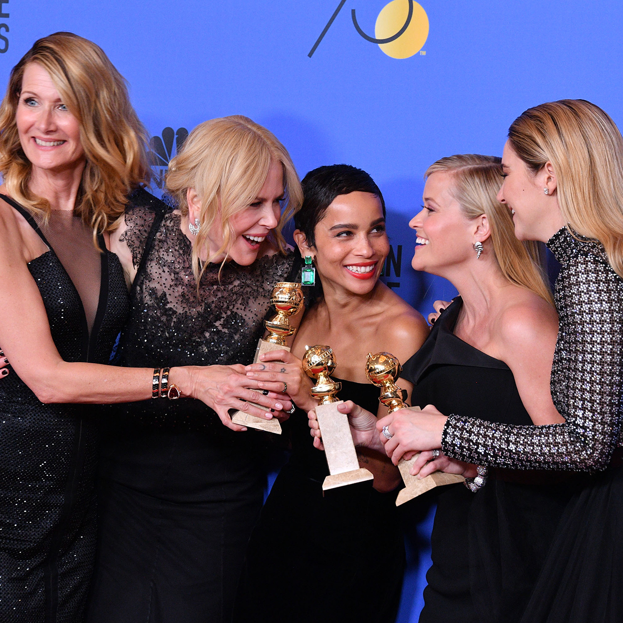 Actors Laura Dern, Nicole Kidman, Zoe Kravitz, Reese Witherspoon and Shailene Woodley of 'Big Little Lies,' winner of the award for Best Television Limited Series or Motion Picture Made for Television, pose in the press room during The 75th Annual Golden Globe Awards at The Beverly Hilton Hotel on January 7, 2018 in Beverly Hills, California