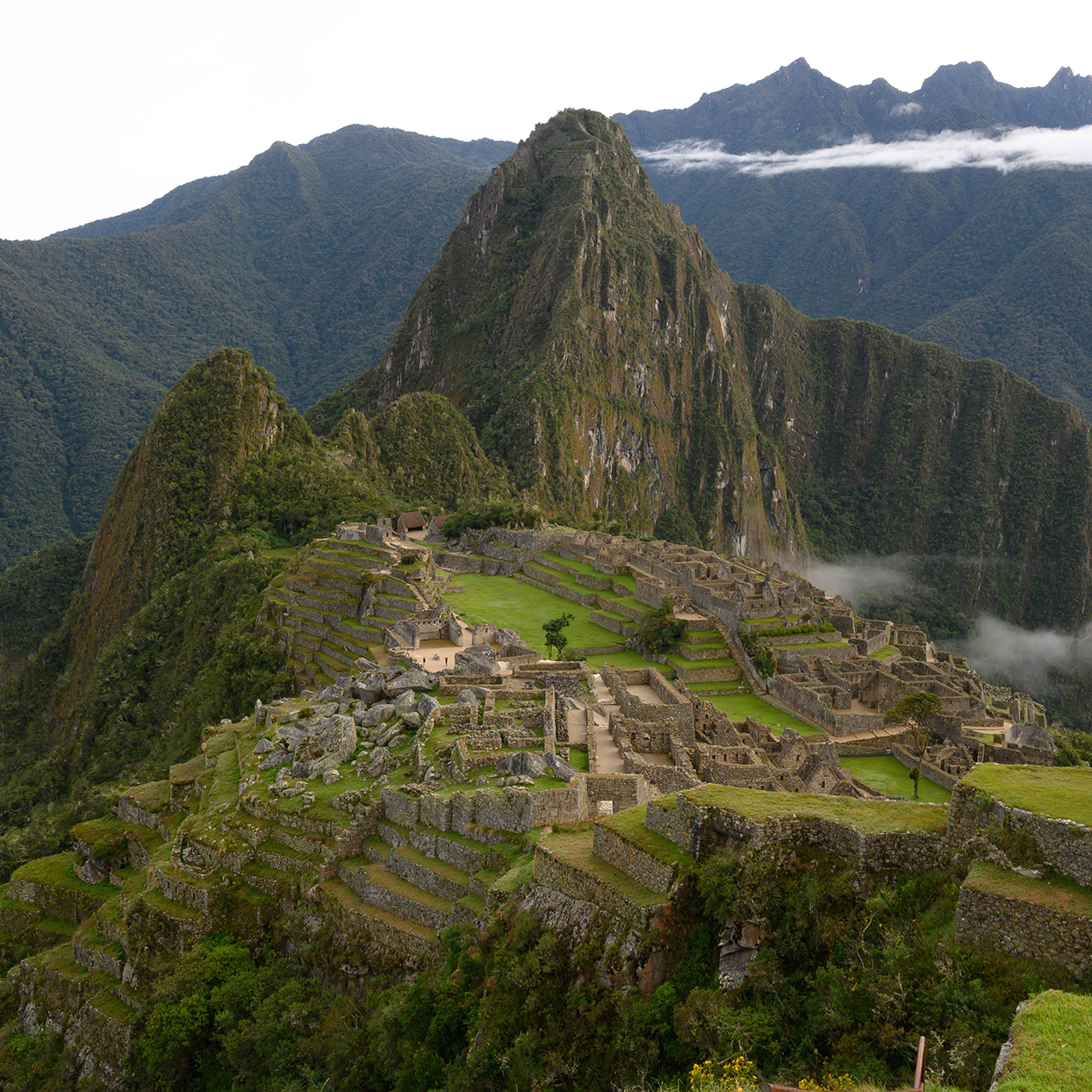 View of the Machu Picchu complex, the Inca fortress enclaved in the south eastern Andes of Peru on April 24, 2019