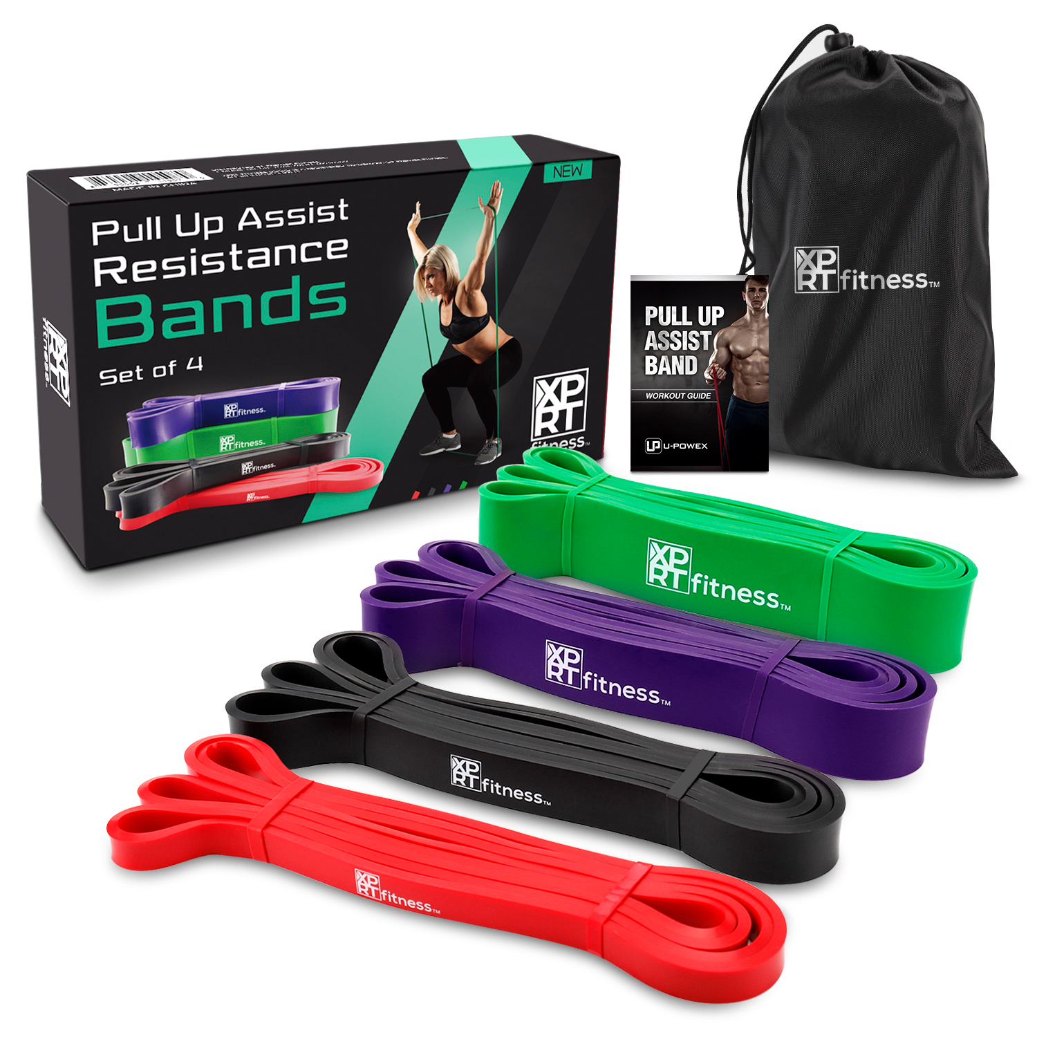 XPRT Fitness Resistance Bands Pull Up Assist Bands Stretching Powerlifting Set of 4