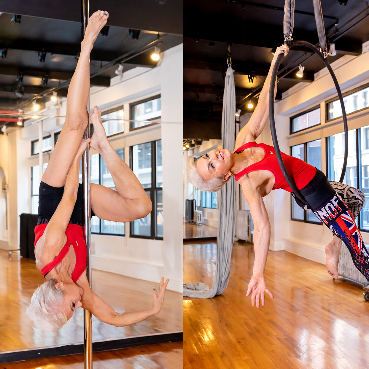 Susan Skinner balancing on a pole and in a lyra hoop