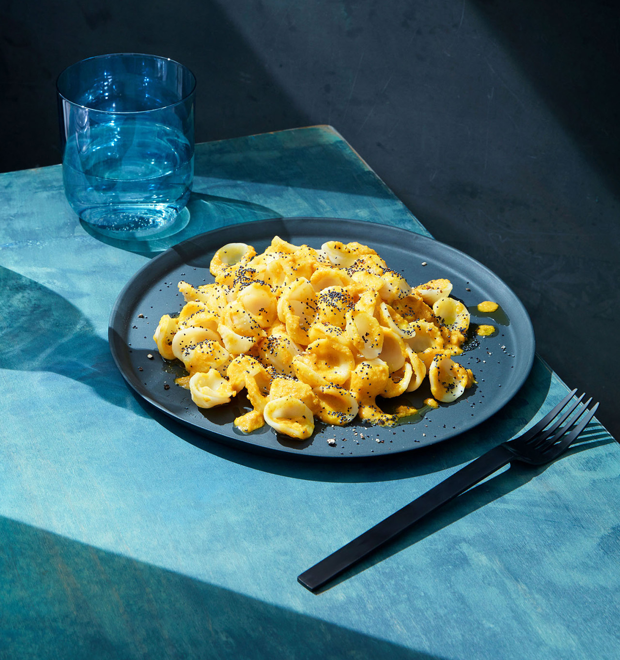smoky cumin and chipotle carrot pasta with poppy seeds