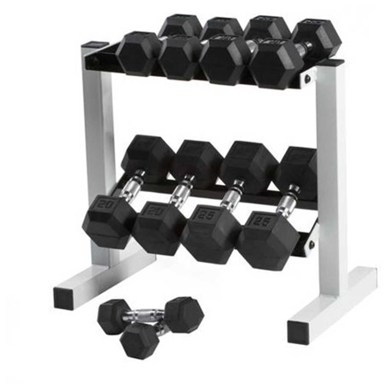 CAP 150 lb. Rubber Hex Dumbbell Weight Set