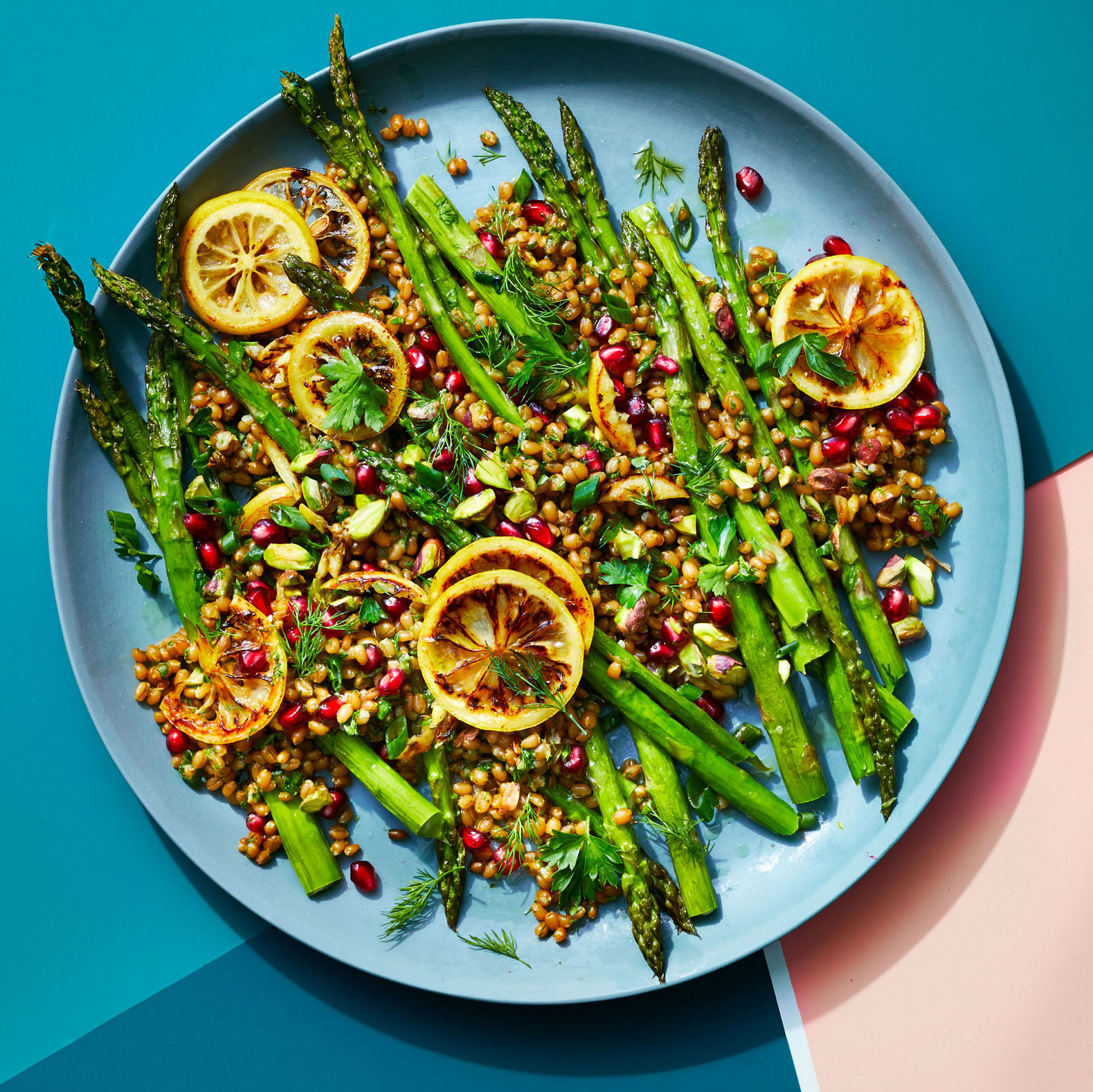 blue plate of Jeweled Wheat Berries and Asparagus