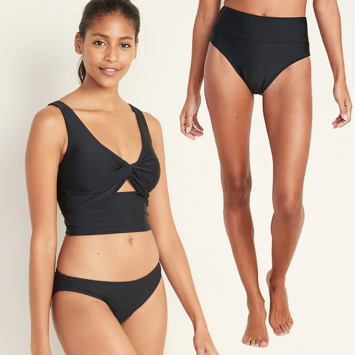 Twist-Front Tankini Swim Top High-Waisted Bottoms