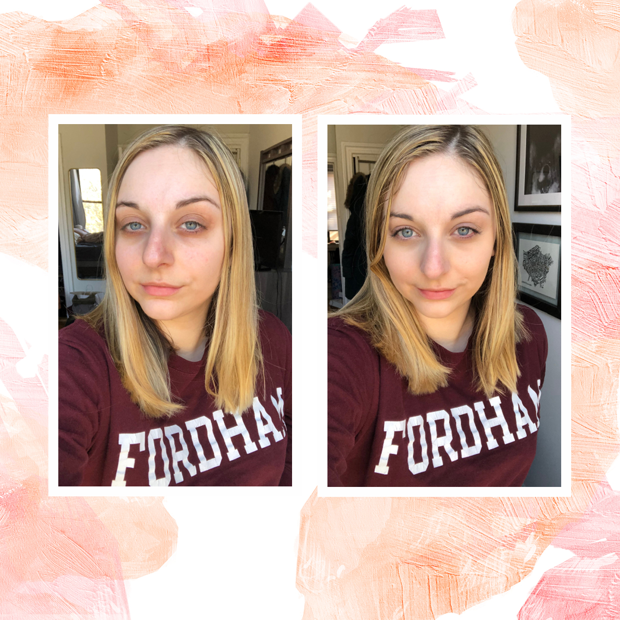 Before and after Tarte Maracuja Hydrating Tinted Moisturizer.