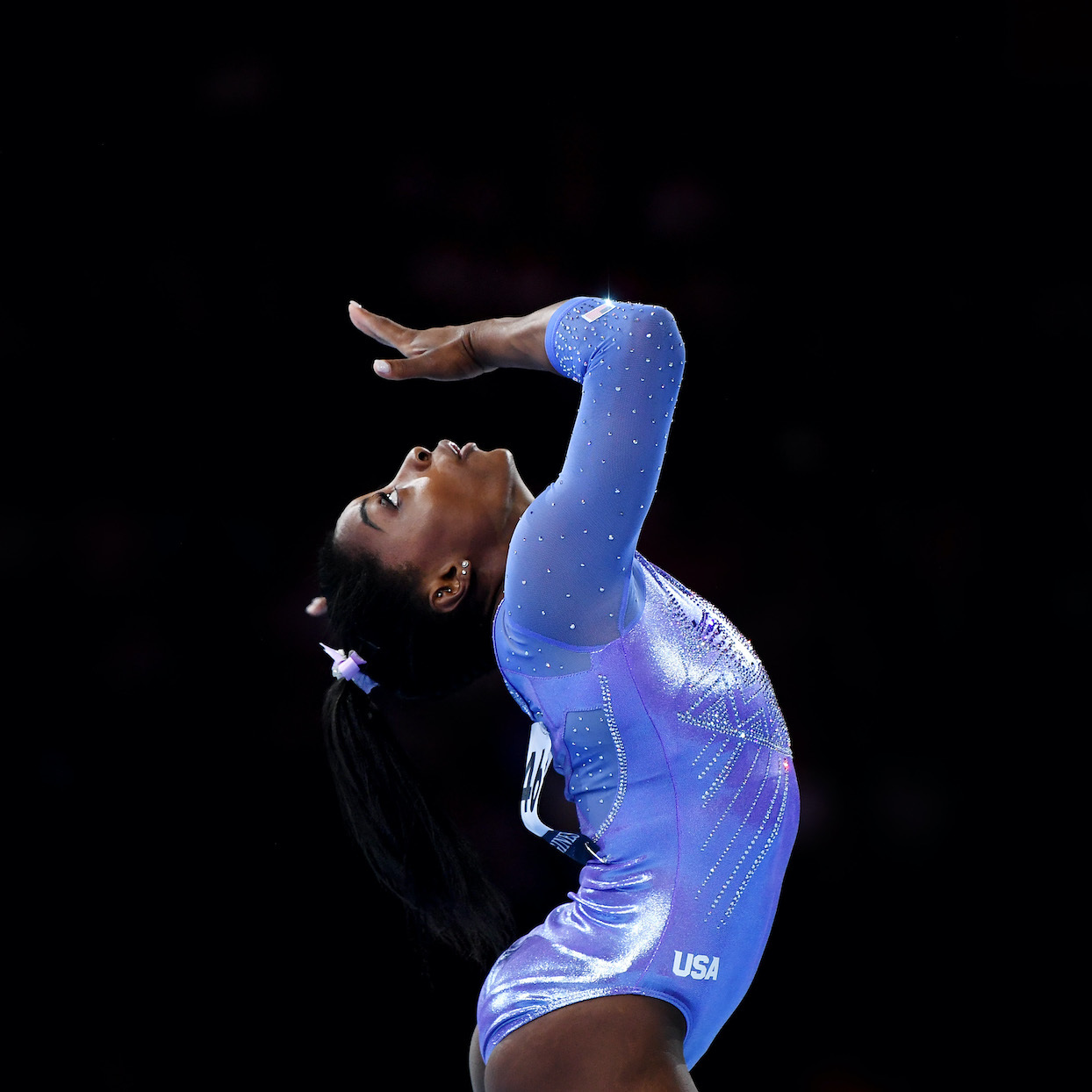 Simone Biles of USA competes on Floor during the Apparatus Finals on Day 10 of the FIG Artistic Gymnastics World Championships at Hanns Martin Schleyer Hall on October 13, 2019 in Stuttgart, Germany
