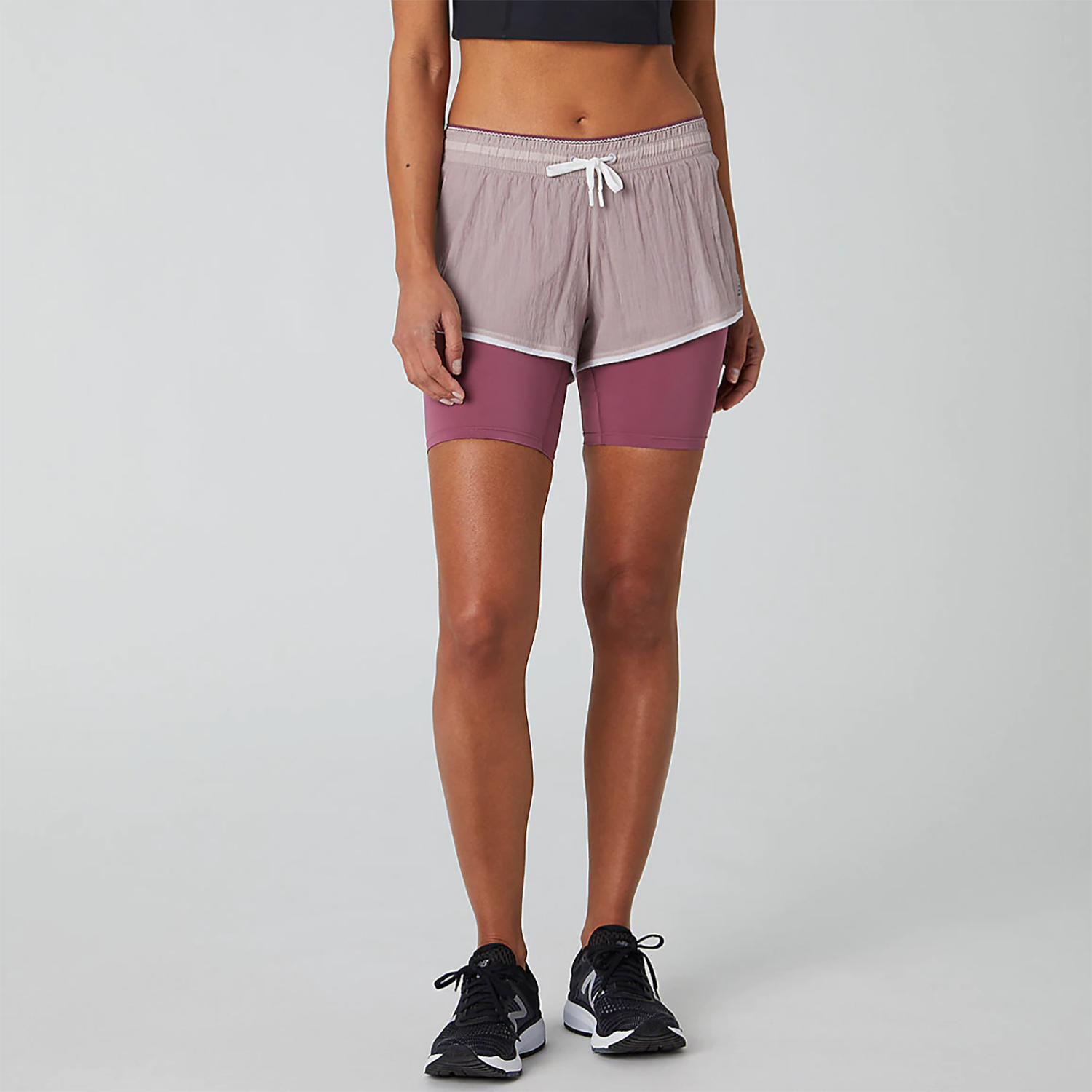 A two-in-one short like thisfrom New Balance gives you the best of both worlds. You get a tighter layer that stays put as you pick up the pace on a run, sneak in some side shuffles, or move in many directions during plyometric moves. On top, the flowy, loose-fitting layer keeps you covered while still allowing for breathability, flexibility, and moisture-wicking material.