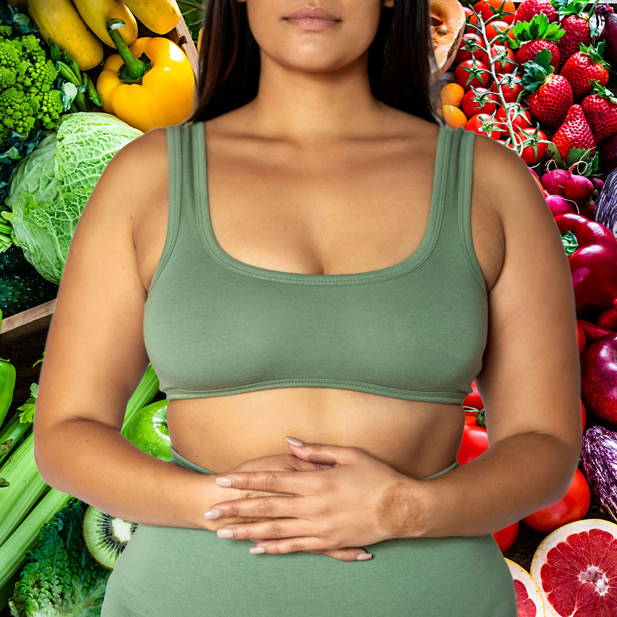 Woman Holding Stomach With Food Background