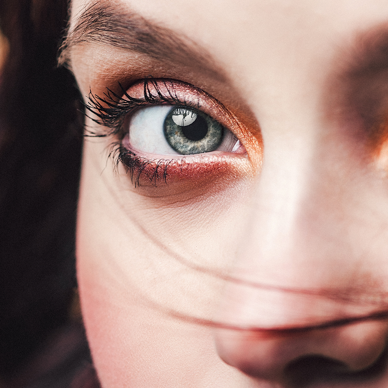 Woman with green eyes