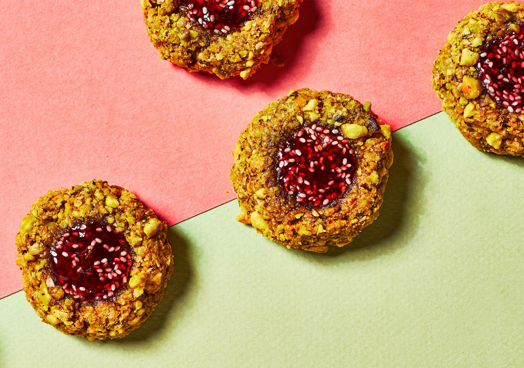 pistachio butter thumbprints with raspberry-chia filling