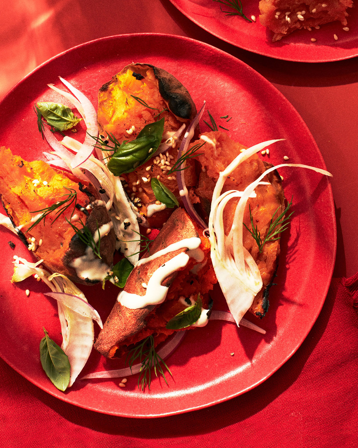 Sweet Potatoes With Chile Oil, Tahini & Fennel-Herb Salad