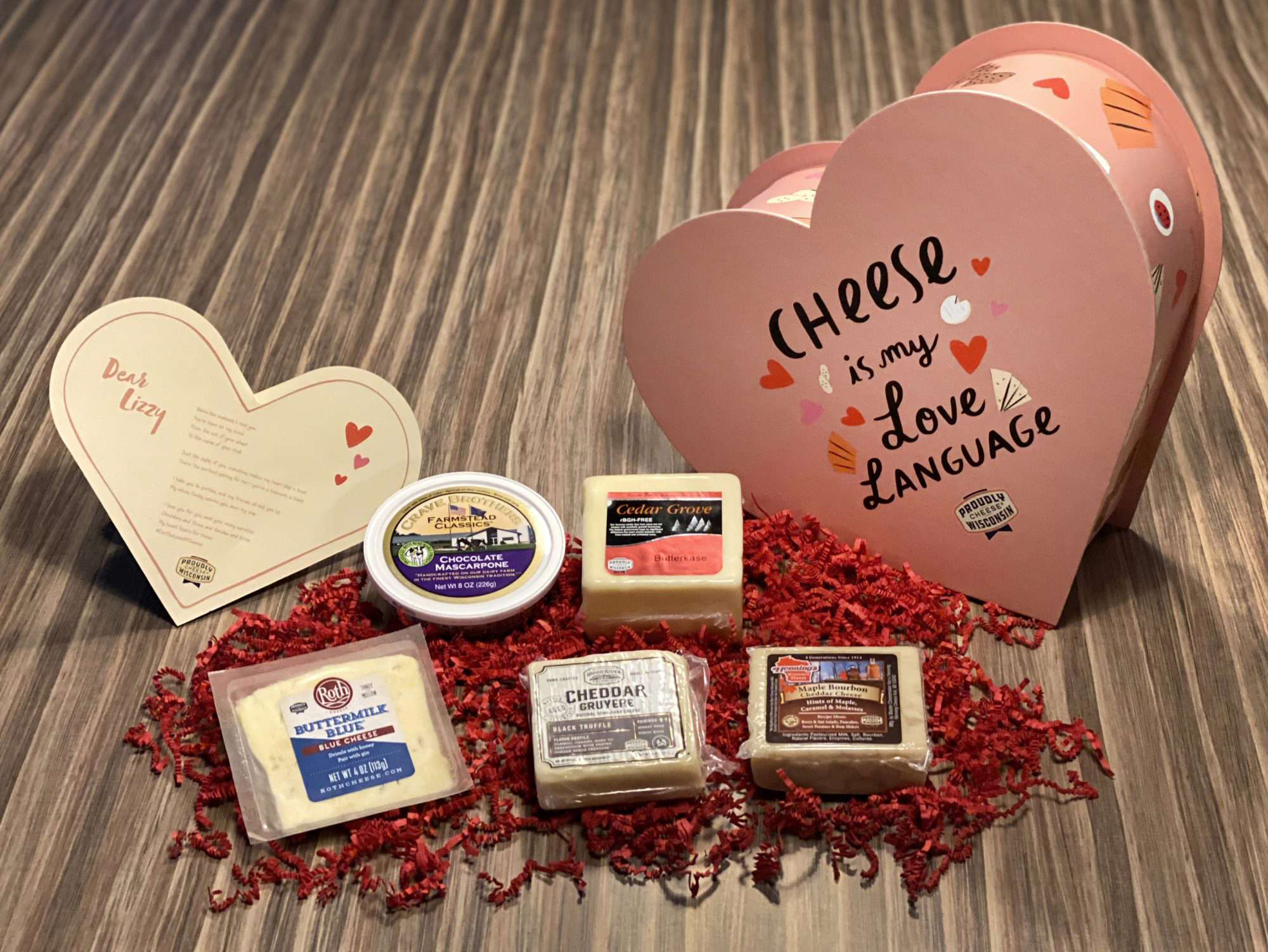 Wisconsin Cheese Heart Box for Valentine's Day