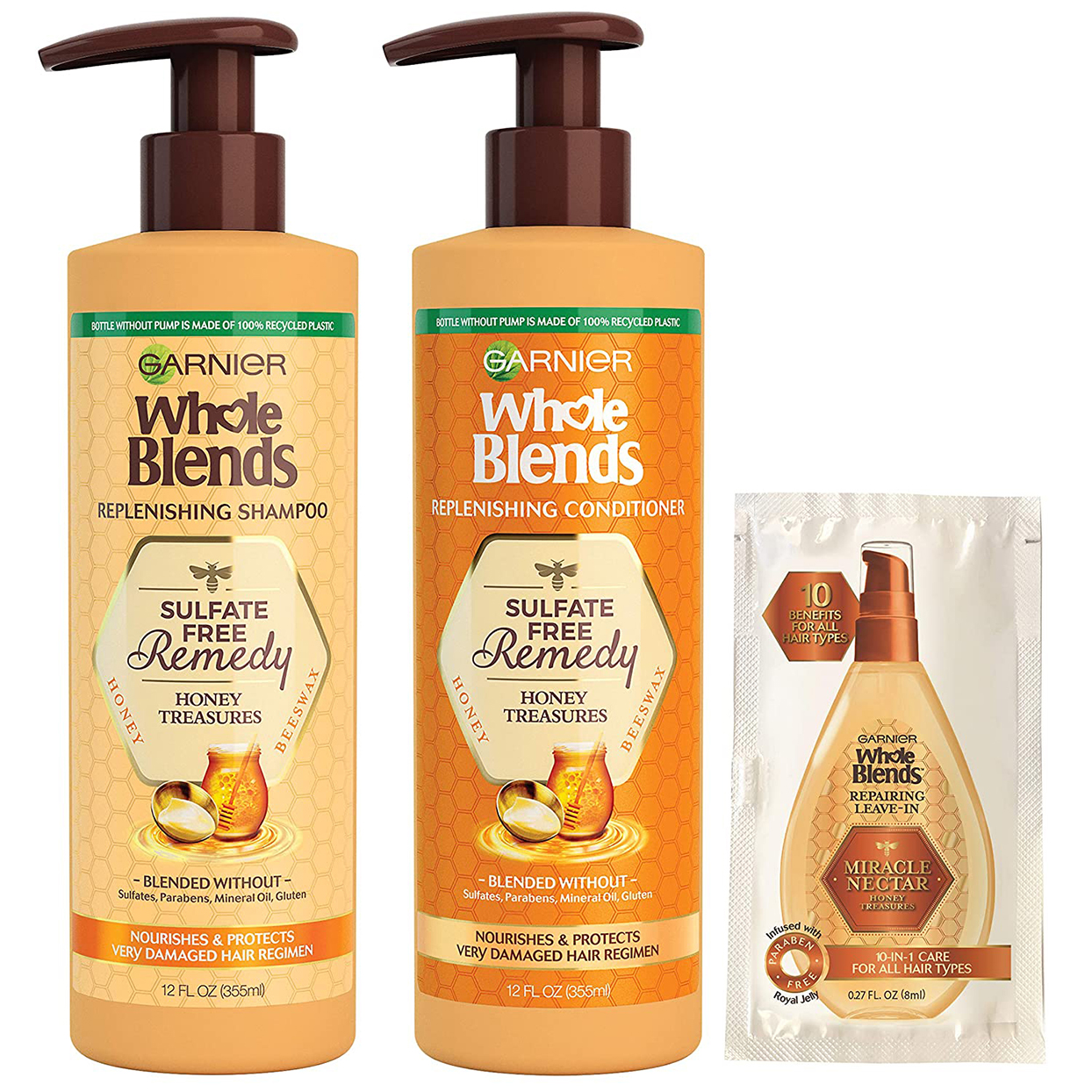 Garnier Whole Blends Sulfate-Free Remedy Honey Treasures Replenishing Shampoo and Conditioner,