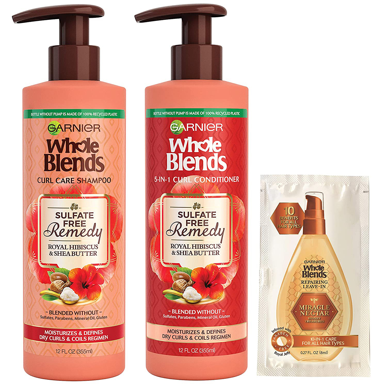 Garnier Whole Blends Sulfate-Free Remedy Hibiscus and Shea Shampoo and Conditioner