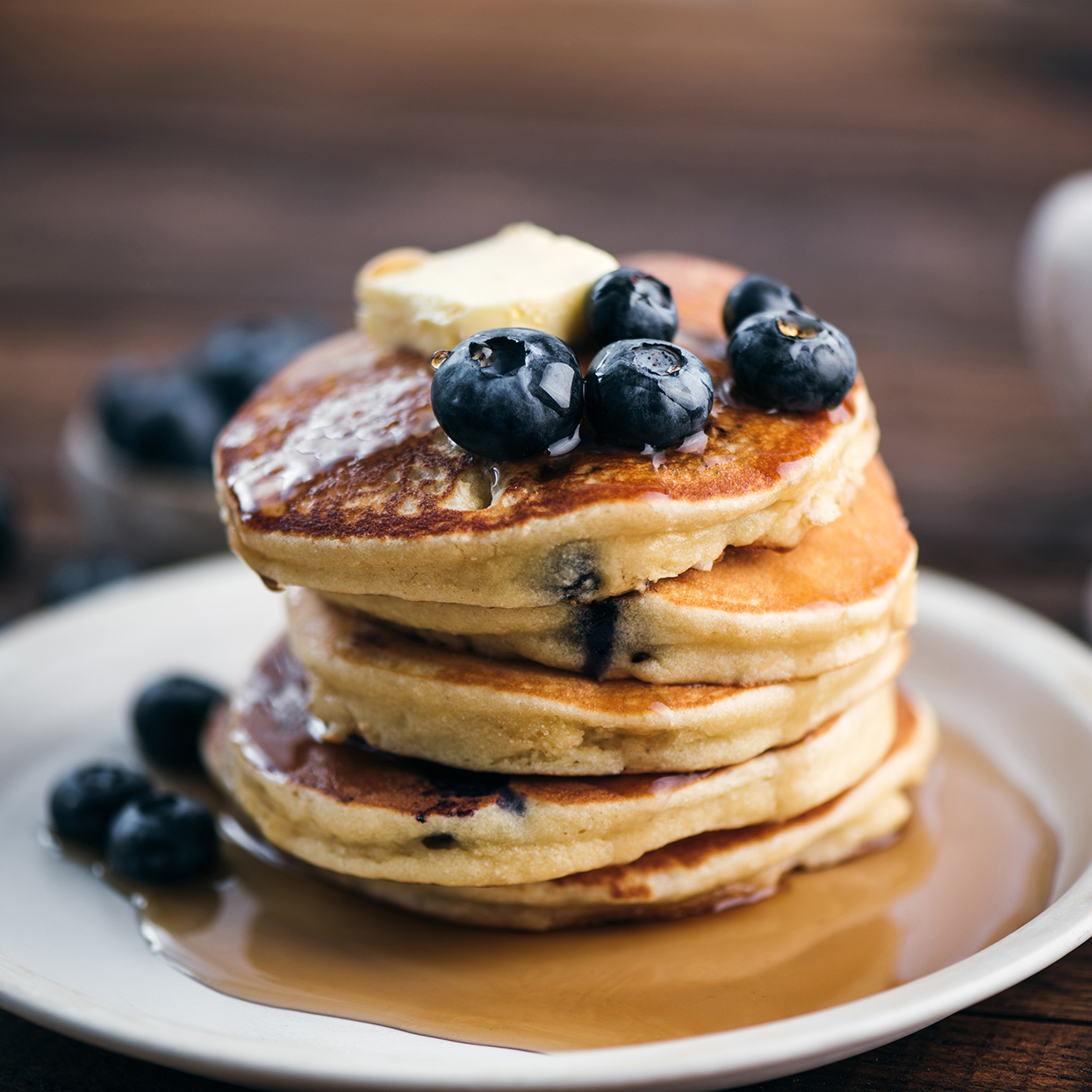 Tasty Blueberry Pancakes With Syrup