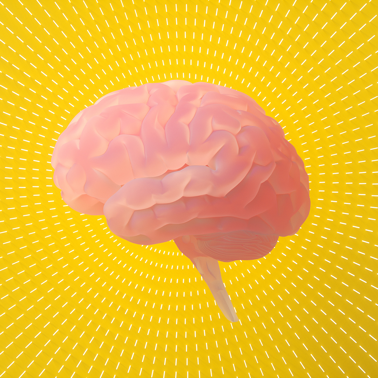 An illustration of a brain on a yellow background